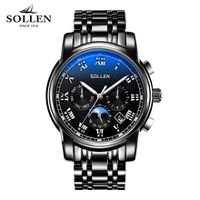 SOLLEN function automatic mechanical watch men waterproof steel moon phase night light male watches(China)