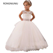 Hot Real Image Ivory White Lace Flower Girls Dresses 2017 Ball Gown Belt Floor Length Girls First Communion Dress Princess Dress
