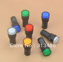 1pcs 16mm signal led Indicator light blue green red,white yellow pilot lamp 220V
