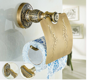 High Quality antique toilet paper holder copper paper roll holder tissue box bathroom hardware luxury paper roll holder<br>