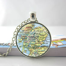 Fashion Necklaces For Women 2014 Map Necklace Scotland British Map Glass Tile Jewelry Necklace Glass Dome Pendant HZ1