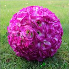 Free Shipping 30cm Purple Silk Rose Pomander Flower Ball Bridal Wedding Decorations Favor Party Kissing Balls Wedding bouquet