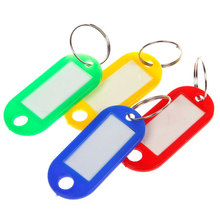 30Pcs/Lot Plastic Keychain Blanks Key Ring ID Label Tags For Baggage Paper Insert Luggage Tags Random Color Key Chain
