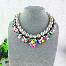 Women Chunky Fashion Necklace lace collar Chunky Statement Necklace imitation Pearl Necklaces & Pendants