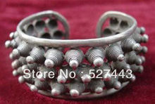 Wholesale Fast shipping Hot Empty Twisted Steel Wire Tip Tibet Silver Adjustable Bangles Cuff Bracelets (A0426)(China)