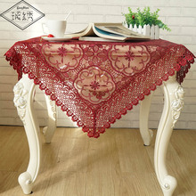 Free Shipping Home Decorative 85cm Square Luxury Wine Organza Embroidery Lace Trim Tablecloth(China)