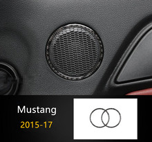 Car Door Audio Speaker Ring decoration cover trim 2pcs for Ford Mustang 2015-17 Carbon fiber Car styling Interior accessories(China)