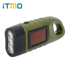 LED Flashlight Professional for Outdoor Camping Mountaineering Solar Power Portable Hand Crank Dynamo Torch Lantern Tent Light(China)