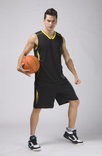 men plain basketball sets men blank basketball jerseys male sports kits adult training uniforms men running vest and shorts(China)