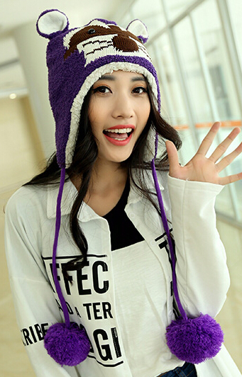 Fashion big eyes penguin winter warm cap female lovely fashion caps Plush Ball ear protection hat 7color 1pcs brand new arriveОдежда и ак�е��уары<br><br><br>Aliexpress