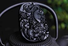 Drop Shipping Unique Natural Black Obsidian Carving Dragon Lucky Amulet Pendant Necklace For Women Men pendants Jade Jewelry(China)