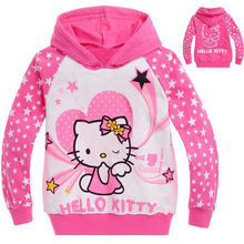 New 2017 Hello Kitty Children Hoodies Hello Kitty Girls Hoodies Kids Long Sleeve Spring Autumn Hoody Girls Clothes CC012-CGR1