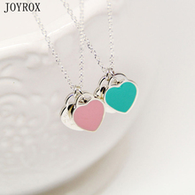 JOYROX Fashion Blue&Pink Two Heart Pendant Necklaces 2017 Design Charm Enamel Alloy Necklace For Women Girls Gifts(China)