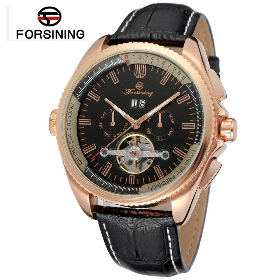 2017 Forsining Watch Mens Montre Homme Day/Week/24Hours Tourbillion PU Leather Watches Wristwatch Gift Box Free Ship<br>