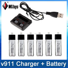 3.7V 200MaH New Version Lipo Battery 6Pcs +1 Set Charger With USB Cable For WLtoys V911 V911-1 V911-2 2.4G 4Ch RC Helicopter(China)