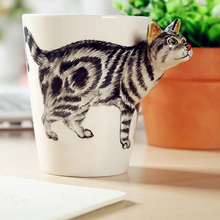 Creative 3D Ceramic Coffee Mug Cup Cute Animals Shape Handmade Coffee Milk Tea Water Drinking Cup Tabby Cat(China)