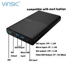30000mAh VINSIC 18650 Power bank External Battery Supply DC 19V 3.5A Dual USB Poverbank For Notebook Laptops Xiaomi iphone(China)