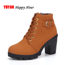 High Quality New 2017 Autumn Winter Boots Women High Heels Ankle Boots Fashion Women's Boots Brand Lace up Botas ZH316