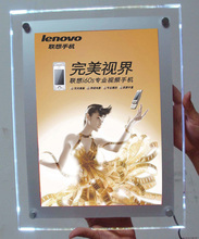 Factory outlet A4 led acrylic picture frame crystal back-lit photo lightbox wall mounted display frames 50pcs/lot