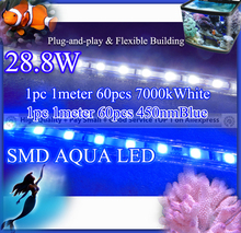 28.8w 2pcs per lot, 1 450nmBlue  + 1 7000kWhite SMD Strip Aqua Light, flexible led aquarium light for coral reef fish tank