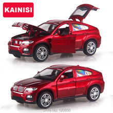15CM 4 Color Alloy Cars 1:32 X6 SUV car Pull Back Diecast Model Toy with light flashing simulation sound Gift toy For Boys Kids