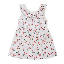 Baby Girls Summer White Color Sleeveless Lovely Cherry Blossom Vest Princess Style Bowknot Mini Dress(China)