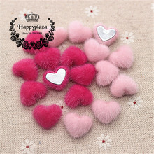 50pcs Cute Hot Pink/Pink Hariy Fabric Covered Heart Buttons Home Garden Flatback Cabochon Crafts Scrapbooking DIY,14*17mm(China)