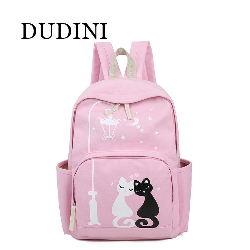 DUDINI New Cat  Cartoon Canvas Backpack For Women Girls Satchel School Bags Cute Rucksack School Backpack Children SchoolBags<br><br>Aliexpress