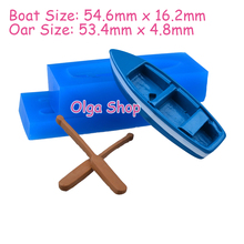 PYL208 3D Rowboat with Oars Mold 3D Wooden Boat Shelf With Oars Moulds 3D Boat Mould Flexible Push Silicone Molds Food Safe(China)