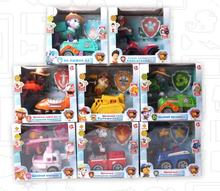 8 kinds dog patrol back to those firms loading Puppy Figurine Cars Plastic Action Figure Children canina awed toy with light