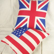 HOT Square colorful Home Cushion Decorative soft seat car Covers linen United States British flag suit cushion almohada N(464)