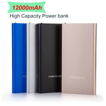 12000mAh Ultra Slim Power Bank Dual Smart USB Port 2.1A output External Mobile Battery mobile phone charger Backup power