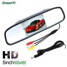 GreenYi M500 Wholesale 10PCS 5 inch 800*480 Resolution Digital TFT LCD Mirror Car Parking Rear View Monitor With 2 Video Input