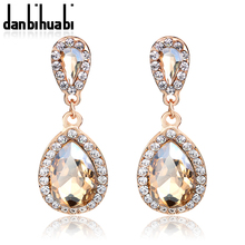 Beautiful Female Long Big Crystal Earrings Fashion Jewelry Wedding Vintage Drop Champagne Earrings For Women(China)