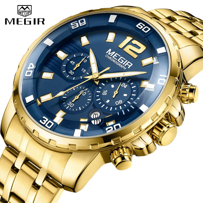 2021 New Men Watch MEGIR Luxury Gold Business Chronograph Sport Mens Watches Full Steel Military Quartz Wristwatches Clock Men