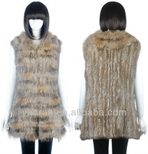 YR809 New arrive Raccoon dog and Rabbit Knitted Fur Vest