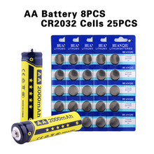 YCDC NEW TOP HOT AA-2000mAh AAA-1000mAh High Volume Rechargeable Battery 1.2V Ni-MH Cell +25Pcs CR2032 Cell Ni-MH  watch battery