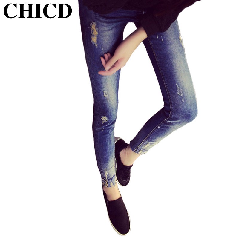 CHICD 2017 Women Skinny Jeans New Spring Autumn Fashion Pencil Pants Denim Skull Ripped Mid Waist Jeans XP313Одежда и ак�е��уары<br><br><br>Aliexpress
