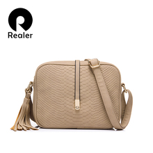 REALER brand women crossbody bags for women shoulder messenger bags crocodile pattern artificial leather handbag with tassel