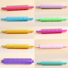 Pastic Non-stick Kitchen Pattern  Rolling Pin Cake Embossing Roller Sugarcraft Decorating Rolling Pin DIY Kitchen Cook 12 Styles