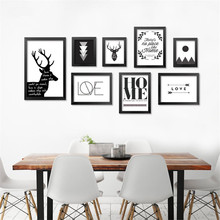 Modern Nordic Minimalist Black White wall art quote Deer painting Print Painting on canvas Pictures Decor For Living Room DP0007
