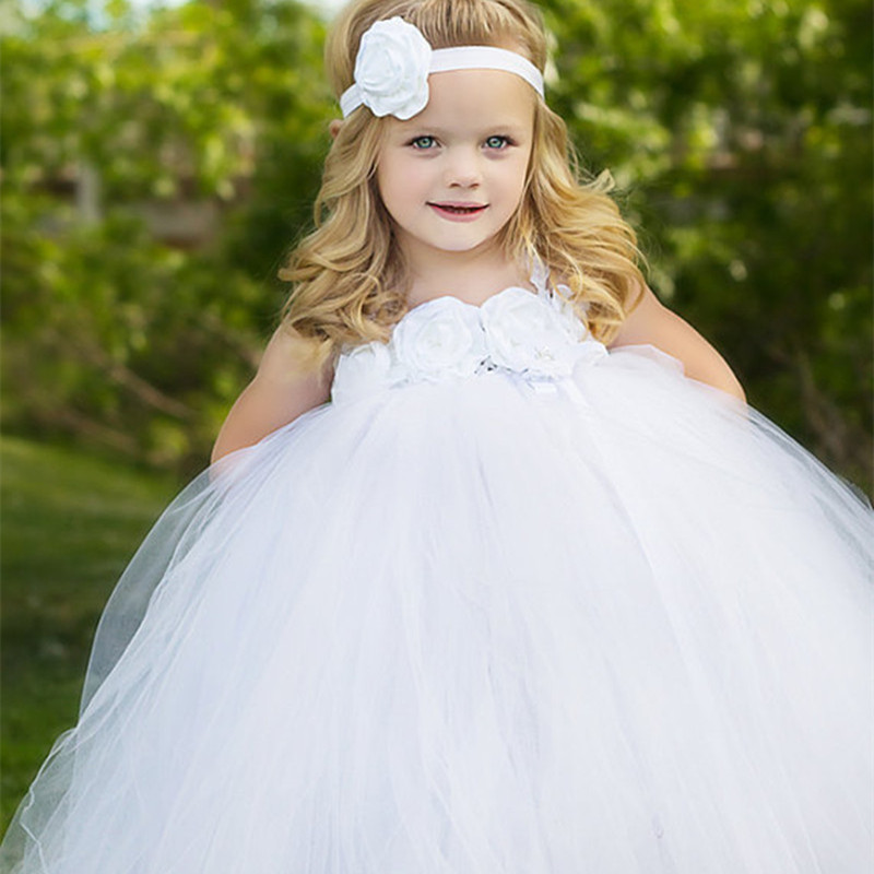New White Flower Girl Tutu Dress Tulle Children Party Wedding Dresses Kids Princess Pageant Ball Gown Costumes Robe Fille Enfant<br>