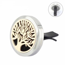 New Design Family Tree 30mm Rose Gold/Golden Stainless Steel Vent Clip Magnetic Car Aromatherapy Perfume Diffuser Locket 20pcs