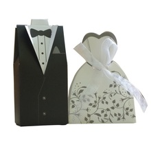 100Pcs=50pair/set Bride and Groom Dress Gown Wedding Favor Candy Gift box For Weeding decoration