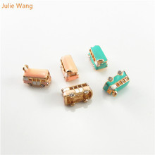 Julie Wang 6pc School Bus Design Gold Base Enamel Necklace Charms Pendants DIY Bracelet Hanging Jewelry Craft Findings Accessory(China)