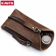 KAVIS Genuine Leather Housekeeper Key Wallet Smart Car Bag Pouch Ring Wrap Fo Organizer Case Man With Coin Card Holder Keychain(China)
