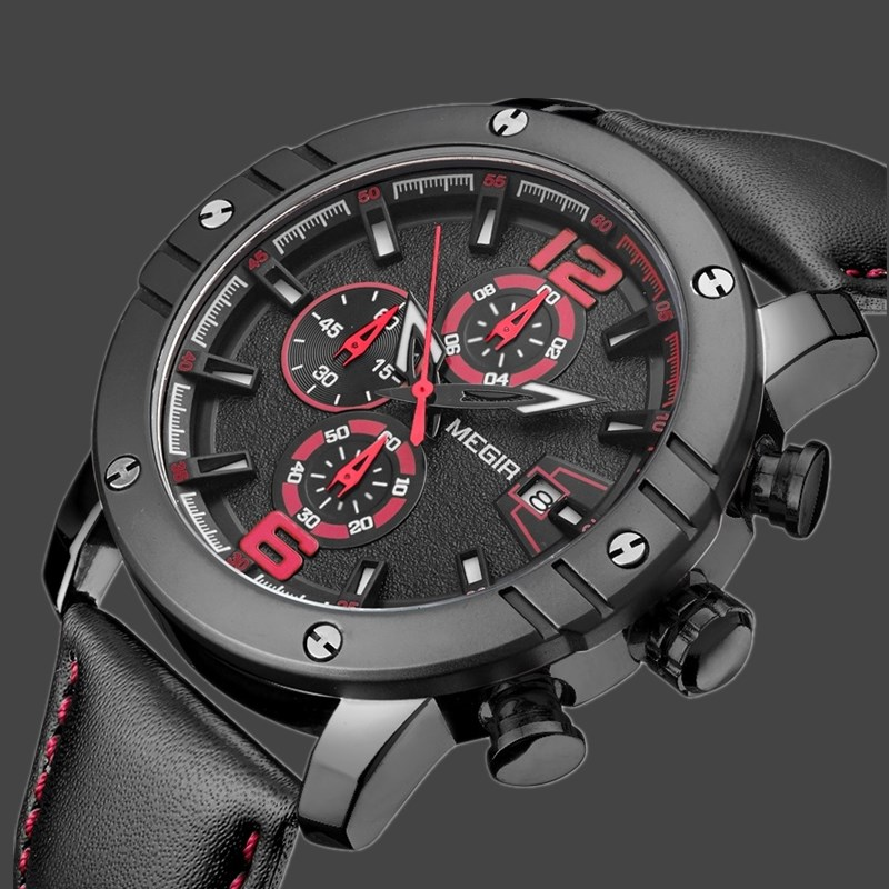 New MEGIR Watches Men Top Brand Luxury Leather Military Chronograph Quartz-Watch Back Light Clock Mens Watch Relojes Hombre <br>