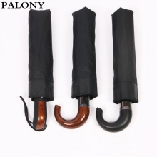 Buy PALONY brand Leather Curved Handle men Automatic business Umbrella Male Windproof Black Big auto Umbrellas parasol Rain paraguas for $17.99 in AliExpress store