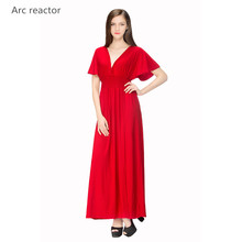 Arc Reactor 2017 New Products Flax Women's Clothing Ice Silk High Quality V-neck Fashion Printing   Beautiful Sexy Beach Dress