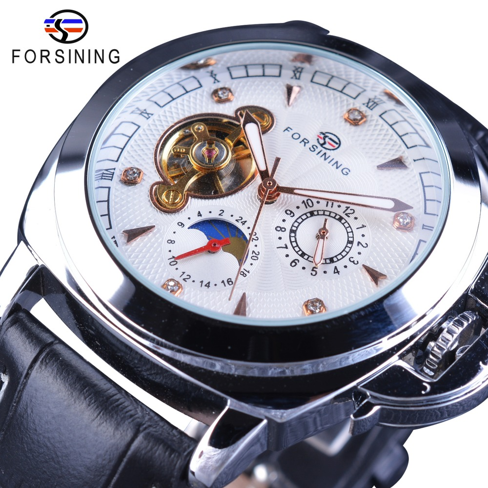 Forsining Casual Sport Design Diamond Luxury Display Tourbillion Genuine Leather Belt Men Watch Top Brand Luxury Automatic Clock<br>